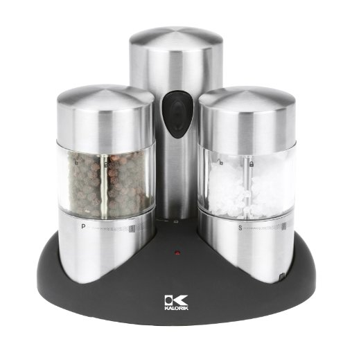 Kalorik Rechargeable Salt And Pepper Grinder Set, Stainless Steel front-185876