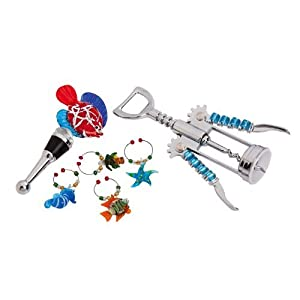 Winestopper, Wine Bottle Opener, Wine Charms Gift Set, Bright Coastal,Metal and Glass,8.75x4.5x1.5 Inches
