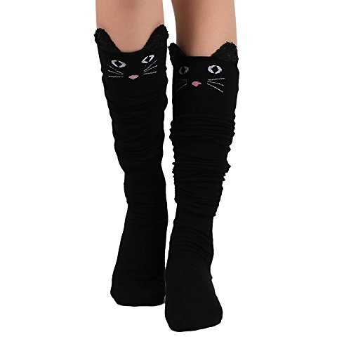 switchali-1-pair-women-cat-catoon-socks-long-socks-over-knee-high-sock-black