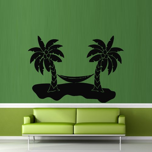 Wall Decal Decor Decals Sticker Palms Coconuts Hammock Recreation Island Tropics Ocean (M305) front-432158