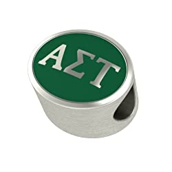 Alpha Sigma Tau Enamel Sorority Bead Charm Fits Most European Style Bracelets. High Quality Bead in Stock for Fast Shipping
