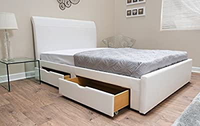 5ft Kingsize White Faux Leather Storage Bed With 4 x Drawers