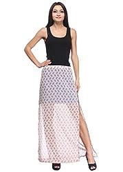 Printed Sheer A-Line Skirt