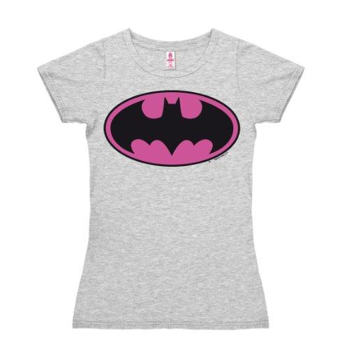 T-shirt donna Batman Logo ROSA - DC Comics - Il supereroe - nel colore - grigio melange - design originale concesso su licenza - LOGOSHIRT, taglia S