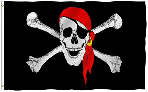 NEW 3×5 Pirate w/ Red Bandana 3 x 5 Jolly Roger Banner