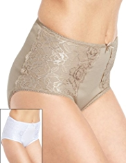 2 Pack Cotton Rich Firm Control Floral Lace Panelled Full Briefs