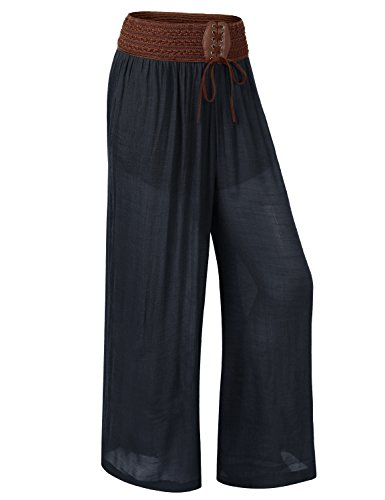 URBANCLEO Womens Casual Belted Wide Leg Bohemian Pants NAVY LARGE
