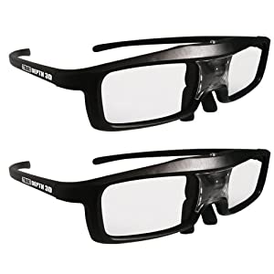 True Depth 3D® Firestorm LT Lightweight Rechargeable DLP link 3D Glasses for All 3D Projectors (Benq, Optoma, Acer, Vivitek, Dell Etc) and All DLP HD 3D TVs (Mitsubishi, Samsung Etc) Compatible At 96 Hz, 120 Hz and 144 Hz! (2 Pairs!) by True Depth 3D
