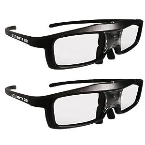 True Depth 3D® Firestorm LT Lightweight Rechargeable DLP link 3D Glasses for All 3D Projectors (Benq, Optoma, Acer, Vivitek, Dell Etc) and All DLP HD 3D TVs (Mitsubishi, Samsung Etc) Compatible At 96 Hz, 120 Hz and 144 Hz! (2 Pairs!) by True Depth 3D