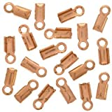 Real Copper Foldover 3mm Cord Ends For Leather 50