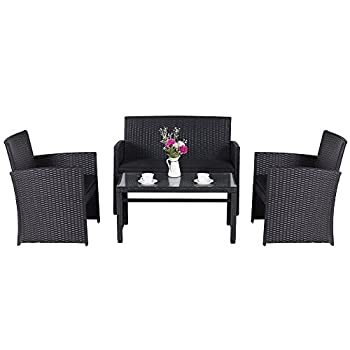 Cloud Mountain 4 Piece Rattan Furniture Set Patio Conversation Set Sectional Wicker Rattan Furniture Outdoor Garden Lawn Sofa Cushioned Set, Black Rattan with Black Cushions