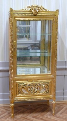 antique vitrina glass cabinet golden inside with mirror