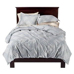 fieldcrest luxury icon embellished duvet cover set blue jacquard oversized king size amazon. Black Bedroom Furniture Sets. Home Design Ideas