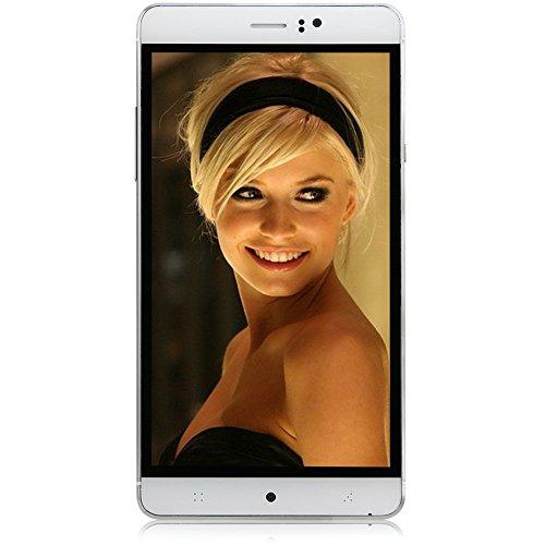 Padgene Handy 3G Smartphone Ohne Vertrag (6 Zoll (15,2cm) mit Android 4.4, Vierkernprozessor Dual SIM, IPS Touchscreen, Bluetooth) Mobiltelefon mit Doppel Kameras (Weiß)