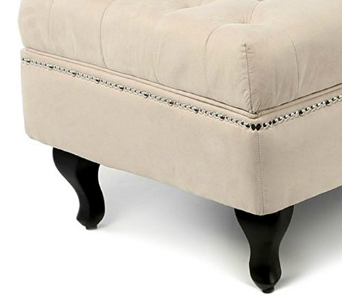 Traditional Storage Chaise Lounge - This Luxurious Lounger w/ Tufted Cushions is a Great Addition to Your Office, Living Room, or Bedroom -Made of Wood and Microsuede - Free eBook (Khaki) 2
