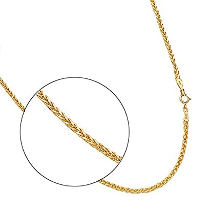 """20/"""" Inches for Women 14K Real Yellow Gold 0.9mm Braided Wheat Chain Necklace"""