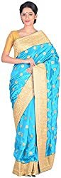 Sree Howrah Stores Women's Art Silk Saree with Blouse Piece (Peacock Blue)