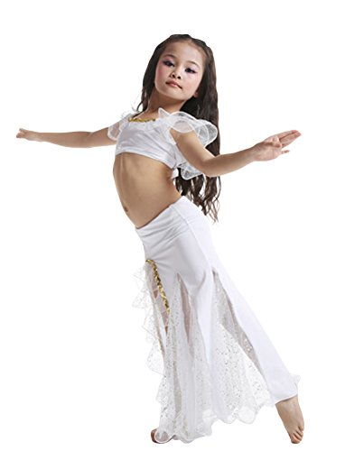 AveryDance Girl's Short Sleeve Belly Dance Costumes Outfit Crop Top and Skirt
