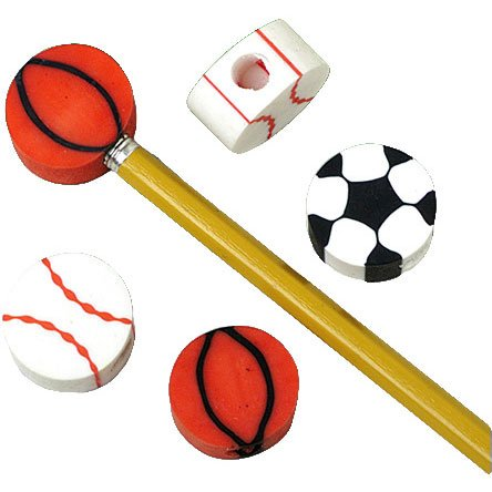 Lot Of 12 Assorted Sports Themed Mini Erasers