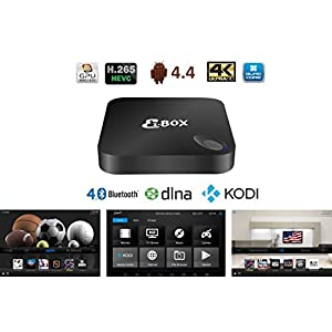 EzMediaXperience EzBOX Android 4.4 Quad Heart 2G/8G fully loaded KODI 4k TV Box - 3D-HD Blu-ray Streaming Media Player Dual 2.4/5GHz WiFi Bluetooth DLNA Airplay - All in one Amusement System