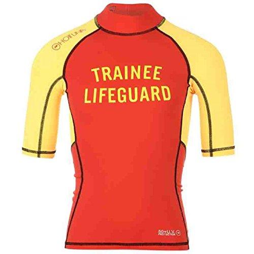 Hot Tonno Bambini Boys Rash Guard a maniche corte collo alto Sport acquatici Red / Yellow Medium