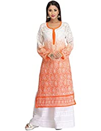 ADA Hand Embroidered Casual Cream And Orange Faux Georgette Kurti With Elegant Chikan Stitches A124656