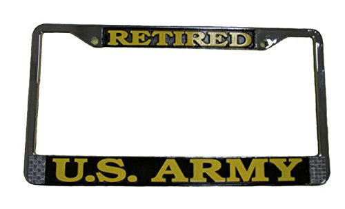 US Army Retired License Plate Frame (Chrome Metal) (License Plate Frames Military compare prices)