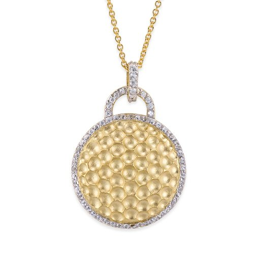 C.Z. Round Hammered Vermeil Plated (.925) S/S Pendant (Nice Holiday Gift, Special Black Firday Sale)