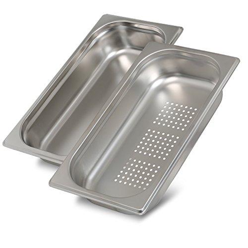 Greyfish 2 Stück GN-Behälter SET :: 1x gelocht / 1x ungelocht :: für Gaggenau / Miele / Siemens Dampfgarer (Edelstahl / Spülmaschine geeignet, Gastronorm 1/3, B 32,5 x T 17,6 x H 6,5 cm)