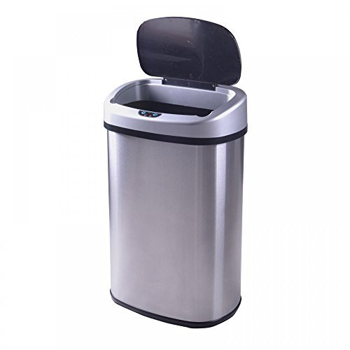 Levpet 13-Gallon Touch-Free Trash Can, Stainless-Steel (Locking Trash Can compare prices)