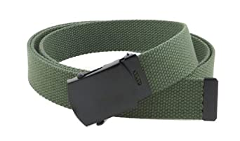 "Canvas Web Belt Military Style with Black Buckle and Tip 56"" Long Many Colors (Olive)"