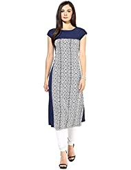 Binny Creation Women's Blue Art Crepe Digital Print Straight Kurta (Tiger Print Blue Kurti_01)