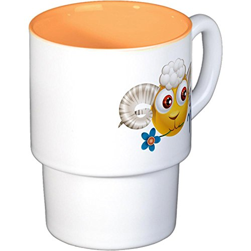 Stackable Coffee Mugs (4) Smiley Face Zodiac Aries