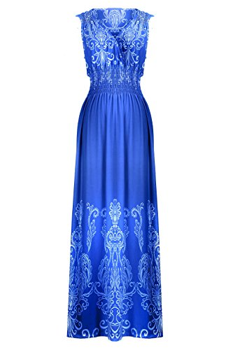 Chic Women's Floral Paisley Smocked Jersey Maxi Dress(DRS-MAX,BLUA10