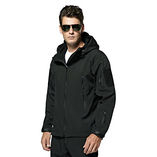 Webetop giacche uomo shark skin Tactical softshell giacca impermeabile per lo sport esterno, 9 colori, 5 formati, Nero M Taglia