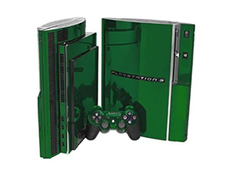PlayStation 3 Skin (PS3) - NEW - GREEN CHROME MIRROR system skins faceplate decal mod