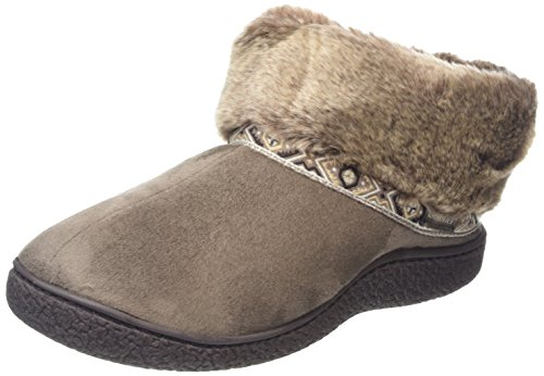 isotoner-pillowstep-bootie-with-fur-cuff-and-tape-trim-chaussons-femme-beige-beige-taupe-38