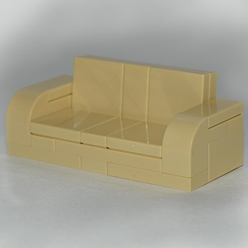 LEGO Furniture: Tan Adjustable Couch 7 x 3 Sofa - with Parts & Instructions - 1