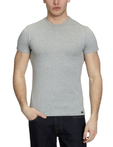 Lee Twin Pack Crew Short Sleeve Men's T-Shirt Grey Mele Small