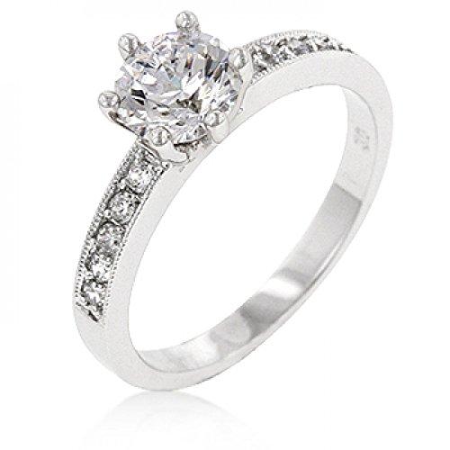 Petite White Engagement Ring