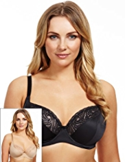 2 Pack Swirl Lace Underwired DD-G Bras