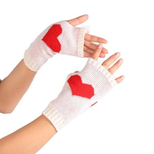Sannysis Winter Handgelenk Handwärmer Gestrickte Lange Fingerlose Handschuhe (Weiß)