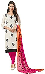 Clickedia Women's Bombay Cotton Embroidered White & Pink Orange Salwaar Suit Dupatta - Dress Material
