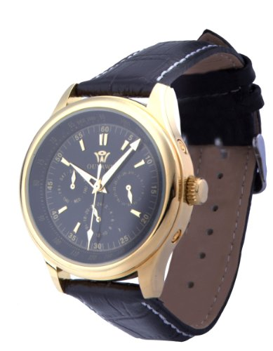 Ouyawei Men'S Golden Round Black Dial Black Leather Strap Mechanical Watches
