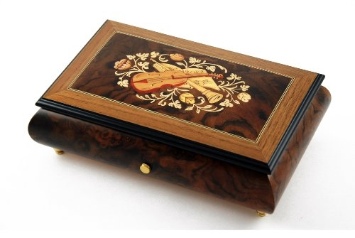Stunning 72 Note Sankyo Music Box with Musical Instruments & Floral Backdrop Inlay with Sankyo 72 Note Tune-Wind Beneath My Wings - 3 parts (Overstock) (-$50.00) coupons 2016