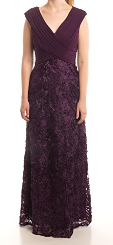 Patra Modern Cap-Sleeve Sequin Embroidered Gown, Plum, 6