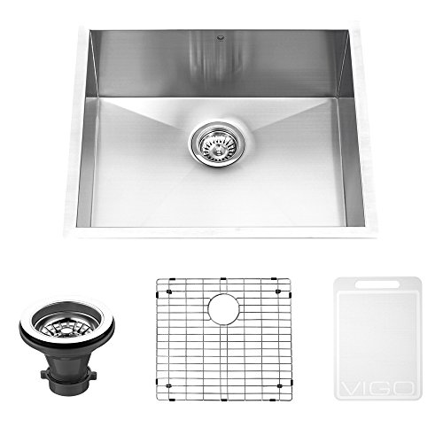 VIGO VG2318CK1 23-inch Undermount Stainless Steel 16 Gauge Single Bowl Kitchen Sink, Grid and Strainer