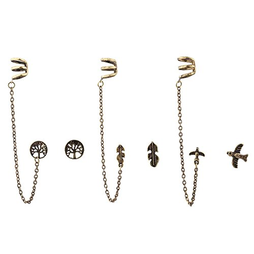 Lux accessori Boho Oro Burnish - Set di Orecchini Ear Cuff (9)