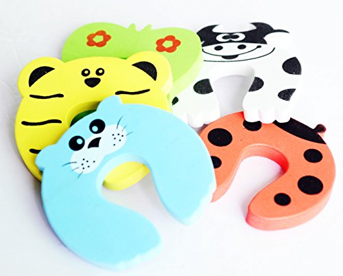 Gland Children Safety Door Stopper. No Finger Pinch Foam ,Colorful Cartoon Animal Cushion - Ramdom Bundled Baby Child Kid Cushiony Finger Hand Safety, Curve Shaped Door Stop Guard 5 Pcs Pack
