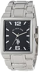 U.S. Polo Assn. Classic Men's USC80035 Rectangular Black Dial Metal Link Watch